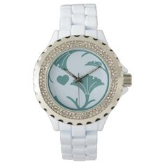 Gingko Crest Watch - White with Rhinestones - accessories accessory gift idea stylish unique custom