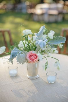 Gorgeous and whimsical centerpiece in a mint julep cup! How fun! {Dennis Kwan Photography}