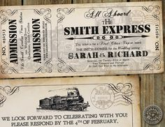 "Train Ticket as a wedding program. Loving the ""smith express"" :)"