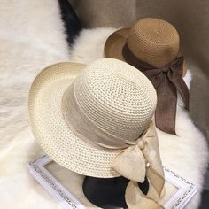 89d5d38f7a3fc New Fashion Flat Sun Hat Women s Summer bow Straw Hats For Women Beach  Headwear 6Colors chapeau femme Gift