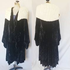 1920s Black Velvet Opera Cloak White Ermine Fur Collar / 20s Drop Waist Evening Coat with Large Collar Flapper Gatsby  / Large AS IS by RareJuleVintage on Etsy
