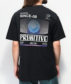 Grab a retro-inspired look with the Dynamic black t-shirt from Primitive. This t-shirt features Primitive logo graphics screen-printed across the back with additional logo script at the left chest. Tee Design, Tee Shirt Designs, T Shirt Graphic Design, Hang Ten, Logos Retro, Cut Shirts, Graphic Shirts, Custom T, Apparel Design