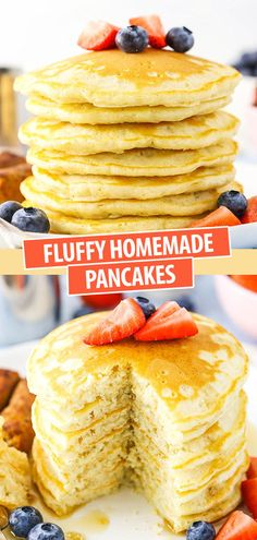 Fluffy Homemade Pancakes for Breakfast? This easy Homemade Pancakes Recipe makes fluffy pancakes that are quick to throw together for breakfast! A classic recipe for old fashioned pancakes. How To Make Pancakes, Pancakes Easy, Breakfast Pancakes, Savory Breakfast, Making Pancakes, Mexican Breakfast, Homemade Breakfast, Breakfast Recipes, Best Pancake Recipe