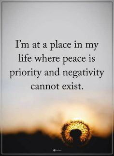 Quotes I am at a place in my life where peace is priority and negativity cannot exist.