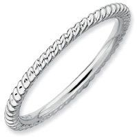 Unique Silver Stackable Rhodium Twisted Ring Band. Sizes 5-10 Jewelry Pot. $13.99. Your item will be shipped the same or next weekday!. 30 Day Money Back Guarantee. All Genuine Diamonds, Gemstones, Materials, and Precious Metals. Fabulous Promotions and Discounts!. 100% Satisfaction Guarantee. Questions? Call 866-923-4446. Save 68% Off!
