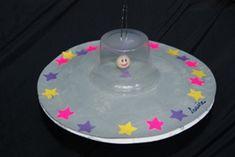 Spaceshuttle maken van plastic bordje en toetjesbakje#kleuters