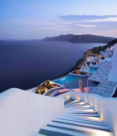 Beautiful Santorini after the sunset