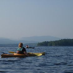 Kayaking on First Connecticut Lake, Pittsburg NH at the Cabins at Lopstick