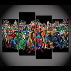 Style Your Home Today With This Amazing 4 Panel Comics Superhero Framed Wall Canvas For $99.00  Discover more canvas selection here http://www.octotreasures.com  If you want to create a customized canvas by printing your own pictures or photos, please contact us.