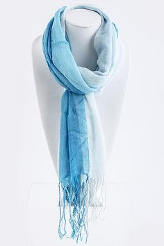 Watercolor Ombre Scarf on Emma Stine Limited.  Lightweight in Tonal Watercolor Ombre wash blending from Sky Blues into White.  32$