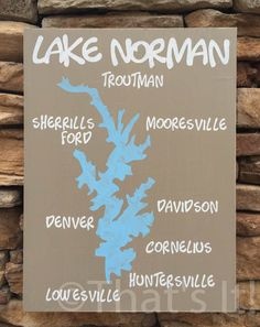Lake Norman map, hand painted, wood sign, north carolina, lake norman art, lake sign, nautical decor, nautical map, housewarming gift
