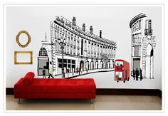OneHouse Roman Buildings Red Bus Wall Mural Decal Removable Wall Decor Sticker * For more information, visit now : home diy improvement
