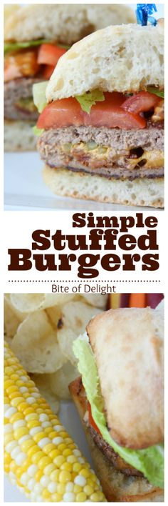 These simple stuffed burgers are easy to make but HUGE on flavor! Our new favorite burger. bite of delight
