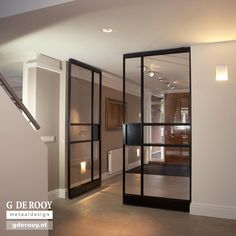 Pivot doors with FritsJurgens inside Glass Design, Door Design, House Design, Interior Windows, Interior And Exterior, Crittal Doors, Steel Doors And Windows, Inside Doors, Iron Doors