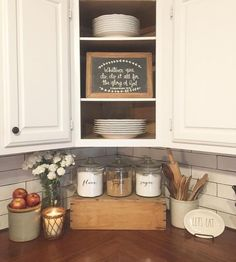 57 Pretty Home Interior Ideas To Add To Your List Like the corner cupboard. Farmhouse kitchen with butcher block countertops and subway tile. Farmhouse Kitchen Inspiration, Farmhouse Sink Kitchen, Country Kitchen, New Kitchen, Kitchen Sinks, Farmhouse Decor, Kitchen Ideas, Farmhouse Style, Awesome Kitchen