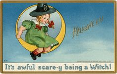 "Frightened Witch Girl Image | Today I'm offering this Funny Frightened Witch Girl Image! Featured above is a darling Vintage Postcard showing a little Witch Girl. This little Girl is wearing a large black Witches Hat and she's seated on a Crescent Moon.  So cute! The greeting on the card is ""It's awful scare-y being a Witch!"". A fun Card for your Halloween Craft Projects!"