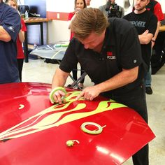 """The Family Handyman learns how to use automotive tape from Chip Foose, host of Velocity TV's """"Overhaulin."""" is a sponsor of Chip Foose's TV show. Car Paint Repair, Home Repair, Car Repair, Diy Household Tips, Cleaning Tips, Chevy, Car Painting, Spray Painting, Painting Tips"""