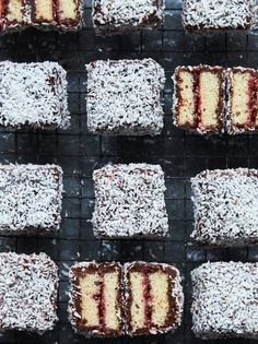 A recipe for classic Australian lamingtons – celebrate Australia Day with Jamie Oliver's sweet treats, packed full of jam, covered in chocolate icing and rolled in coconut. Baking Recipes, Cake Recipes, Dessert Recipes, Pudding Desserts, Easy Desserts, Sweet Recipes, Chocolate Icing, Chocolate Recipes, Chocolate Dipped