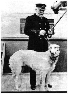 Captain Edward Smith of the Titanic and his beautiful Borzoi which was saved.