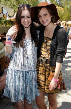 Emma Watson and Lilly Collins in Mulberry pool party for Coachella.