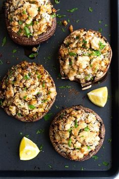 Shrimp Stuffed Portobello Mushrooms makes for an #easy and impressive meal the whole family will enjoy.