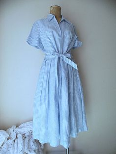 "Brooks Brothers Dress Size Medium 12 Linen Seersucker Blue Stripe Belted ""346"" #BrooksBrothers #Sheath #Casual"