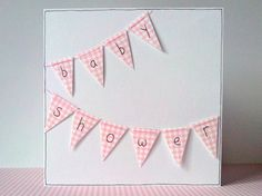 Baby shower greeting card with gingham bunting in by FluffyDuck, £3.75