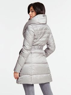 LONG BELTED-WAIST PADDED JACKET | GUESS.eu Long Jackets, Winter Jackets, Padded Jacket, Belt, Long Sleeve, Fitness, Model, How To Wear, Jackets