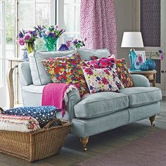 Living room with floral cushion display | Small living room design ideas | Decorating | http://housetohome.co.uk