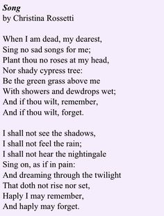 Christina Rosetti - I enjoy her work, she's not one of my MAJOR favorites, but definitely a MINOR favorite LOL, 11/2/2014 mlm