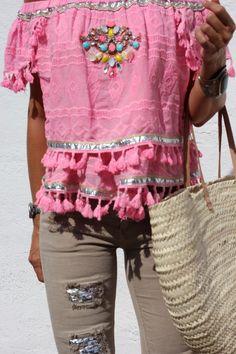 pink for summer - mytenida Moda Hippie Chic, Hippie Chic Fashion, Moda Boho, Boho Chic, Boho Gypsy, Hippie Boho, Moda Barcelona, Barcelona Fashion, Pretty Outfits