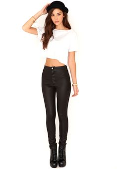 Eugenie Shiny Disco Pants In Black -- these are actually great - These will go so nice with my spiky heels!!!!