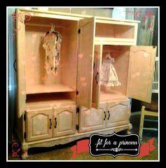 old oak entertainment center transformed into a nursery/little girl armoire...