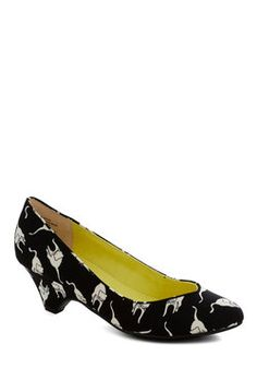 Kitty cat kitten heels. I love it!    Stand in Awe Heel in Feline, by BC Shoes, ModCloth
