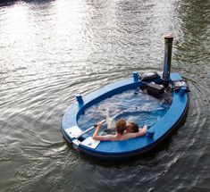 HotTug Hot Tub Boat ::  It's a hot tub and it's a boat. Heated by a woodstove and powered by an electric motor, this hot little Dutch-designed vessel will take you for a one-of-a-kind ride. Just remember, what happens underwater stays underwater.