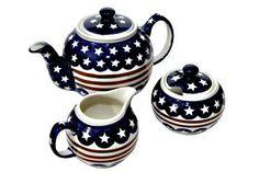 Polish Pottery Stars & Stripes Three Piece Tea Set , http://www.amazon.com/dp/B002S0M3IM/ref=cm_sw_r_pi_dp_tgerqb1XD1RX4