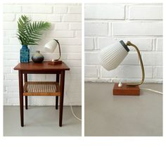 Vintage Lampe, Nachttischlampe Teak, Mid Century, Dänemark, Messing, Vintageinterior von moovi auf Etsy