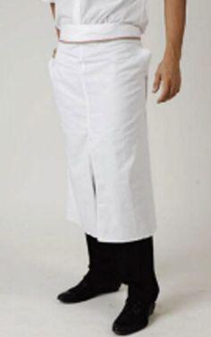 Falda per cuoco con profilo tricolore e spacco centrale. 65% Poliestere e 35% Cotone, misura 80×110 cm. Disponibile nel colore Bianco.