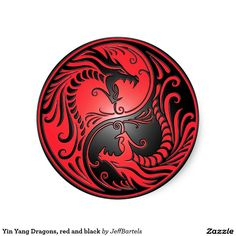Yin Yang Dragons, red and black Stickers Yin Yang Designs, Yin Yang Tattoos, Wow Art, Fabric Paper, Black Walls, Dragon Art, Dragons, Custom Wall, Round Stickers