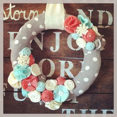 Spring wreath, gray, mint, coral, and cream wreath, summer wreath, everyday wreath, year round wreath on Etsy, $40.00