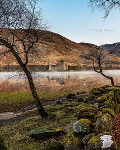 Misty Morning at Loch Awe with Kilchurn Castle, Scotland.