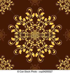 Vector - Vector Gold Seamless Mandala Pattern over dark brown - stock illustration, royalty free illustrations, stock clip art icon, stock clipart icons, logo, line art, EPS picture, pictures, graphic, graphics, drawing, drawings, vector image, artwork, EPS vector art