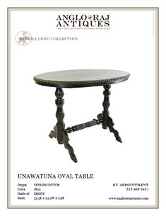 The finest antique colonial furniture from South Asia within extensive ebony collection. Bringing you the finest in Anglo Indian Furniture and Antiques. Indian Furniture, Antique Furniture, Oval Table, Dining Table, Colonial Furniture, Occasional Tables, Interiors, The Originals, Antiques