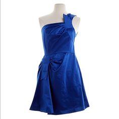 "Blue BCBG runway dress Beautiful blue BCBG runway dress. One shoulder and gathered at waist. Beautifully made. 60% cotton, 40% polyester. 30"" waist, 36"" hips, 34"" length. BCBGMaxAzria Dresses One Shoulder"