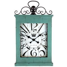 Looking for a functional, beautiful piece for your home or office? Look no further than this Large Antique Turquoise Rectangular Metal & Wood Wall Clock wit Shabby Chic Wall Clock, Shabby Chic Living Room, Shabby Chic Kitchen, Rustic Wood Wall Decor, Rustic Chic Decor, Rectangle Wall Clock, Metal Wood, Wall Clock Online, Ceiling Detail
