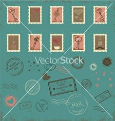 Collection of vintage post stamps vector - by artnis on VectorStock®