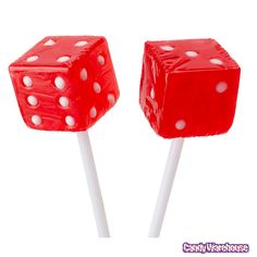 Red Dice Lollipops for a Casino Party