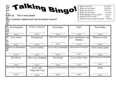 7 Questions Talking Bingo with Role-play Cards