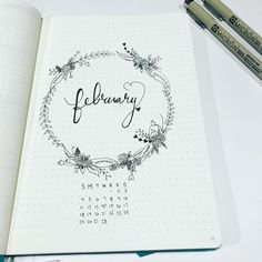 Beautiful February cover page! Bullet Journal Monthly Cover Drawing