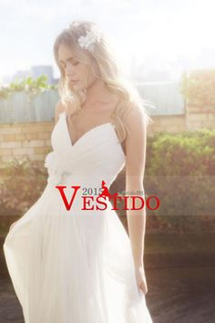Vestido 2014 de boda plisado y armarios blusa una línea de gasa con flores hechas a mano USD 153.99 VEPLEHF22G - Vestido2015.com